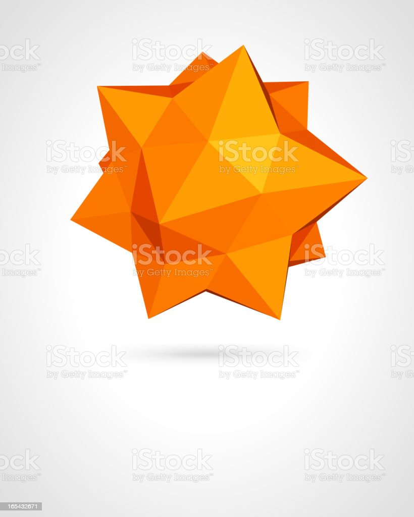 Abstract 3D geometric origami in various tones of orange royalty-free stock vector art