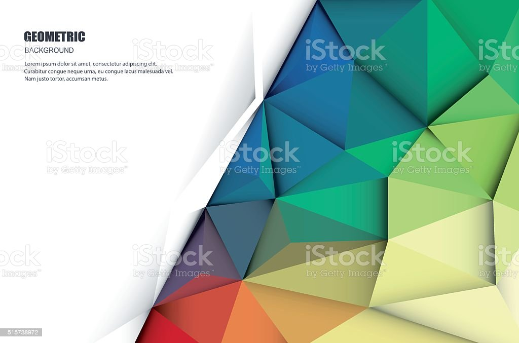 Abstract 3D Geometric, Polygonal, Triangle pattern vector art illustration