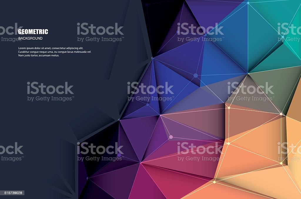 Abstract 3D Geometric, Polygonal, Triangle pattern vector art illustration