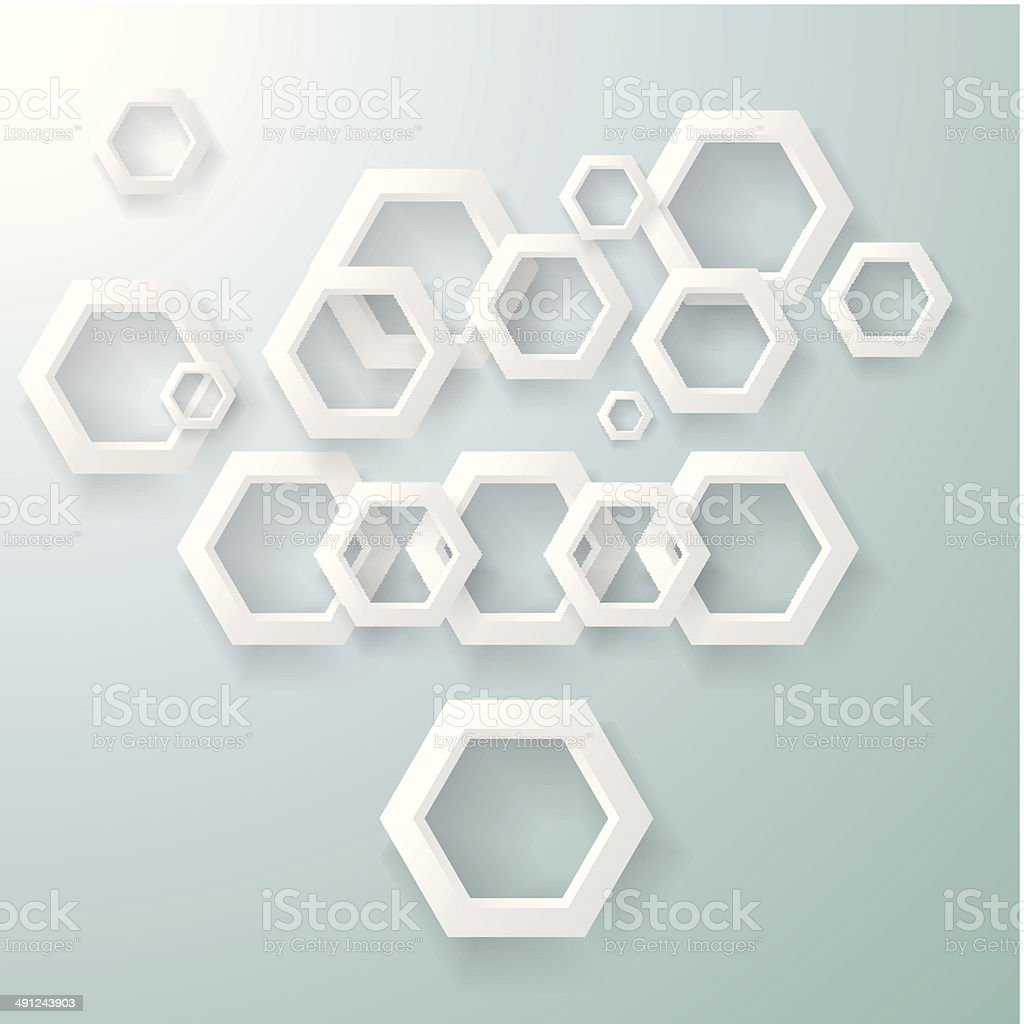 abstract 3D gray hexagon pattern with blue background royalty-free stock vector art