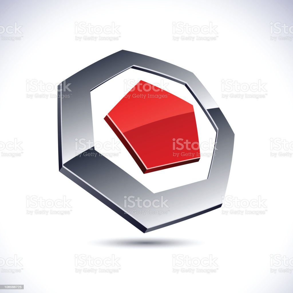 Abstract 3d heptagon sign. royalty-free stock vector art