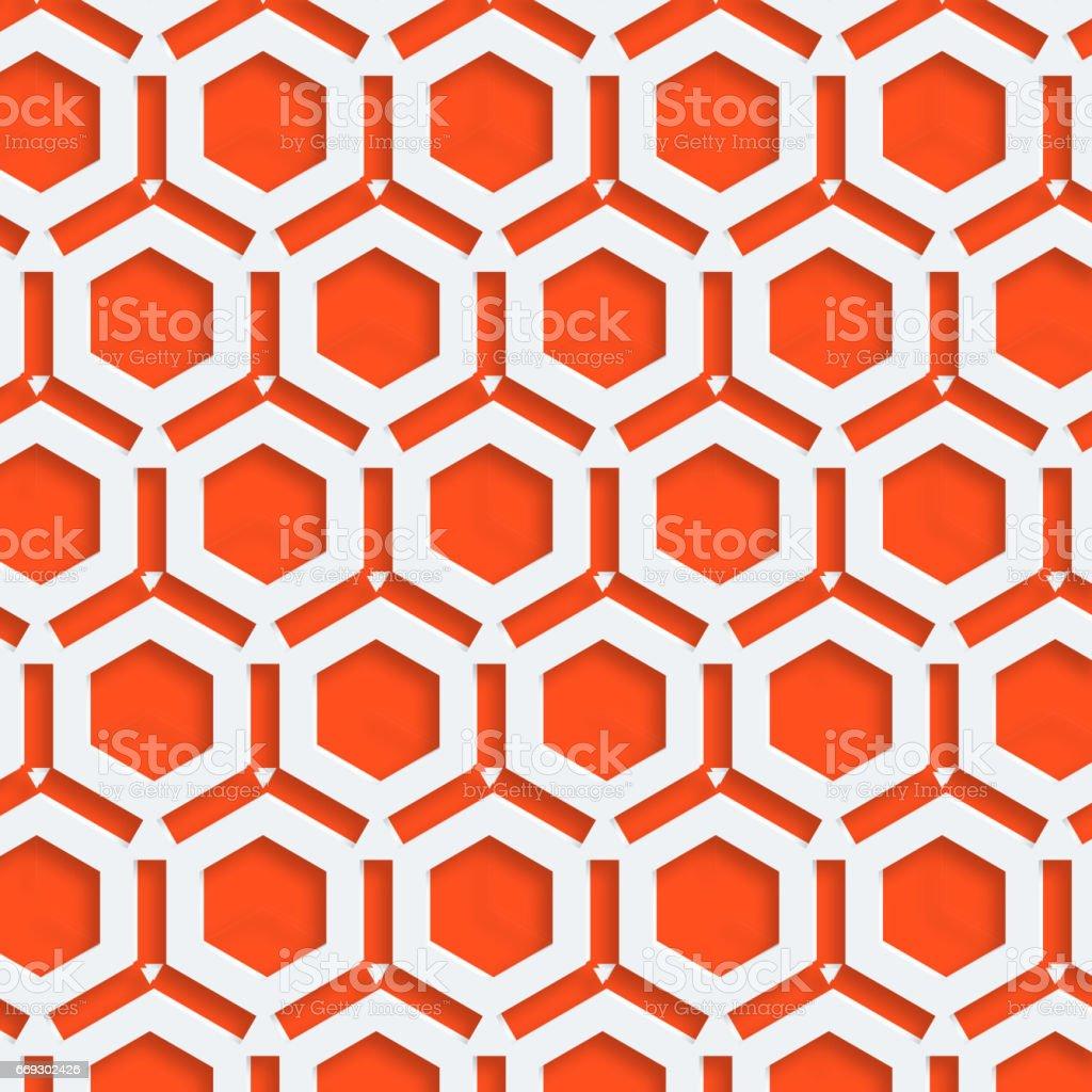 Abstract 3D hexagon seamless pattern vector art illustration
