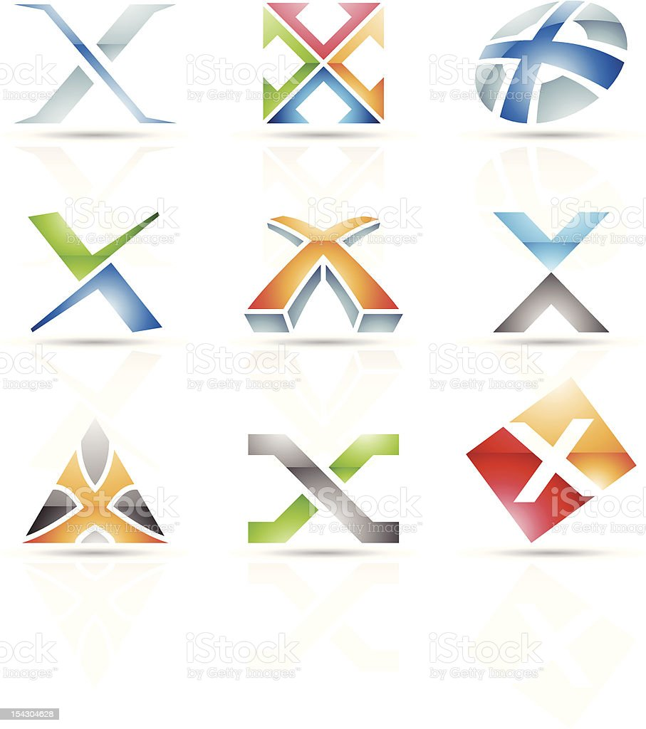 Abstract 3-D icons for letter X royalty-free stock vector art