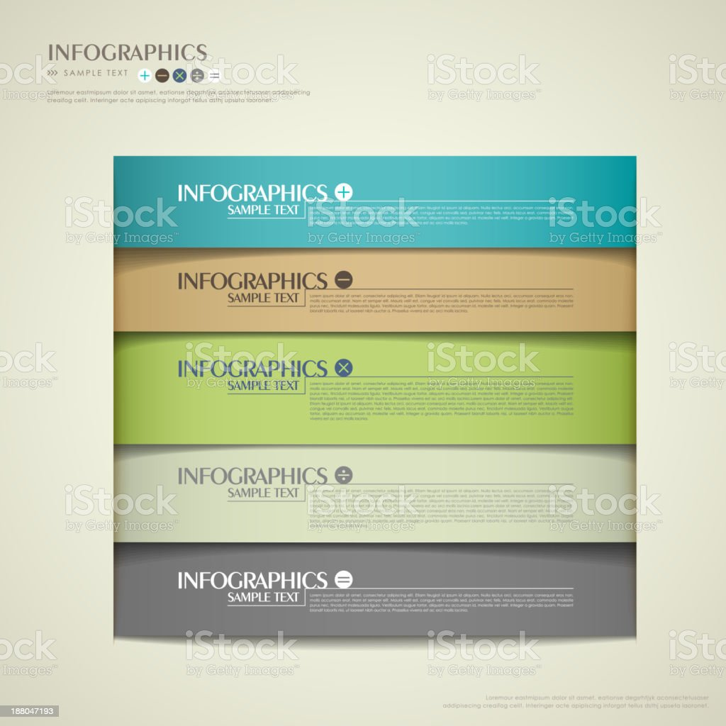 Abstract 3D image of infographics in different colors royalty-free stock vector art