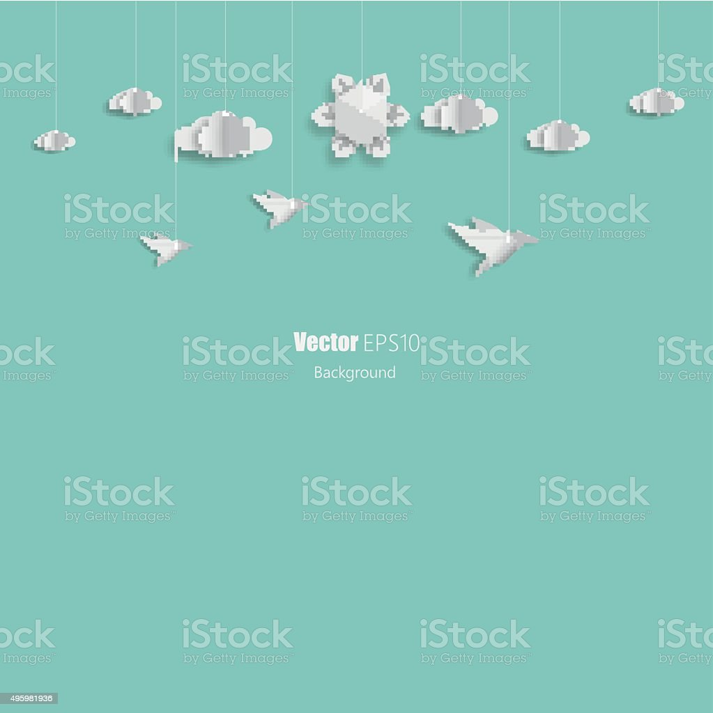 Abstract 3d origami sun and clouds, birds vector art illustration