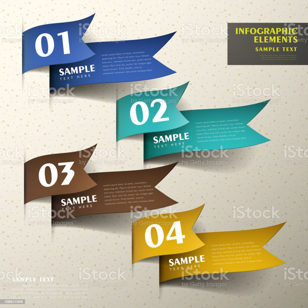 Abstract 3D paper infographics ranging from 1-4 royalty-free stock vector art