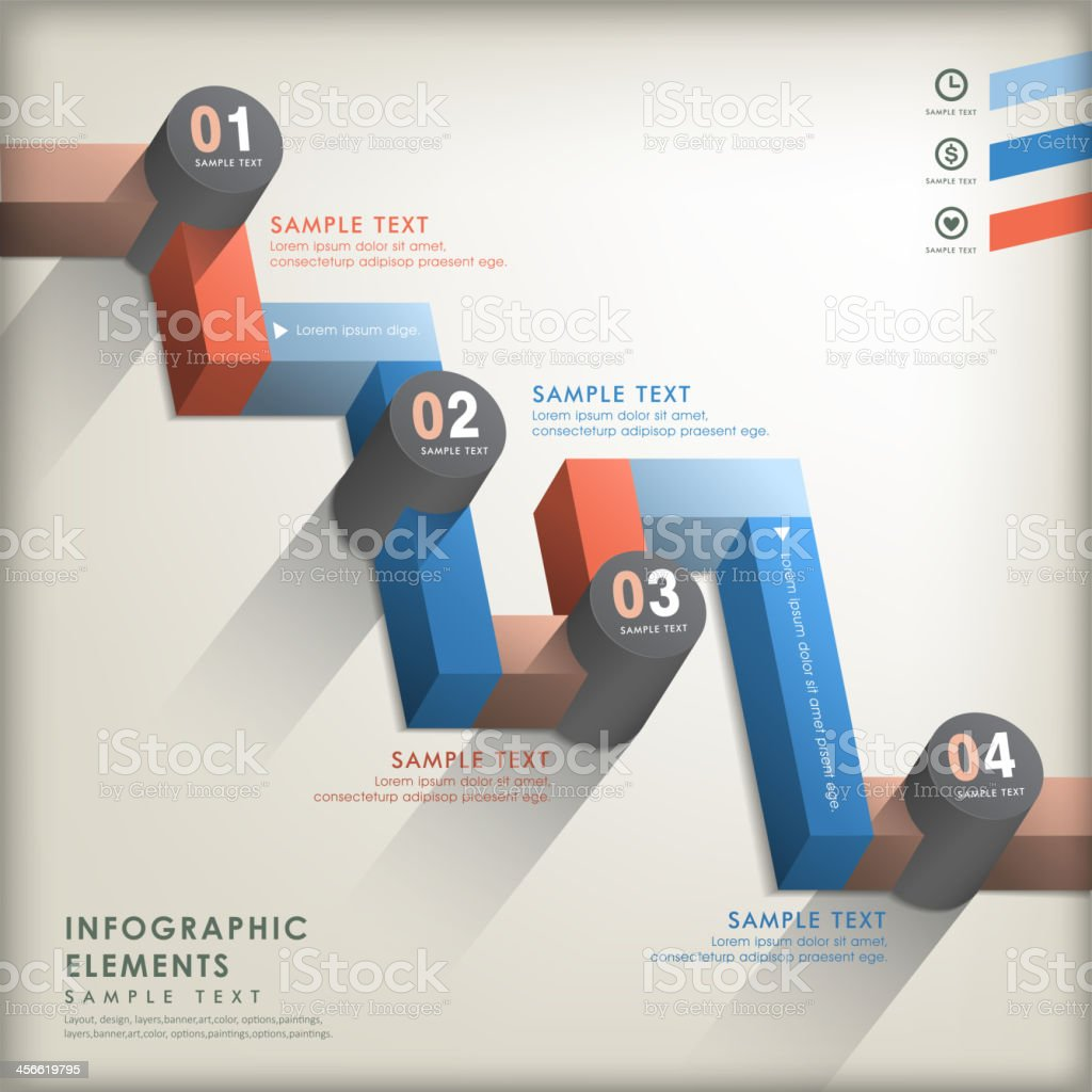 abstract 3d road infographics vector art illustration