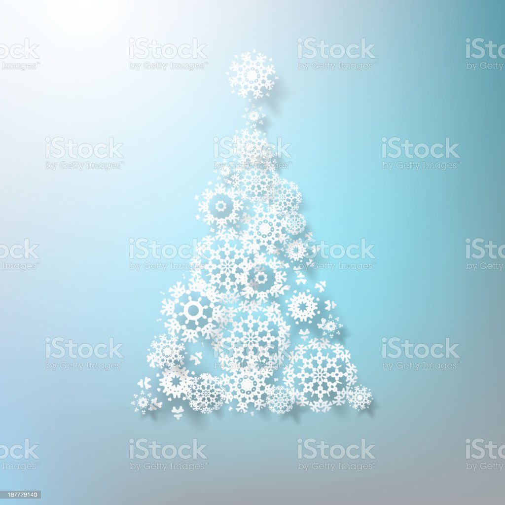 Abstract 3D Snowflakes Christmas Tree. EPS 10 royalty-free stock vector art