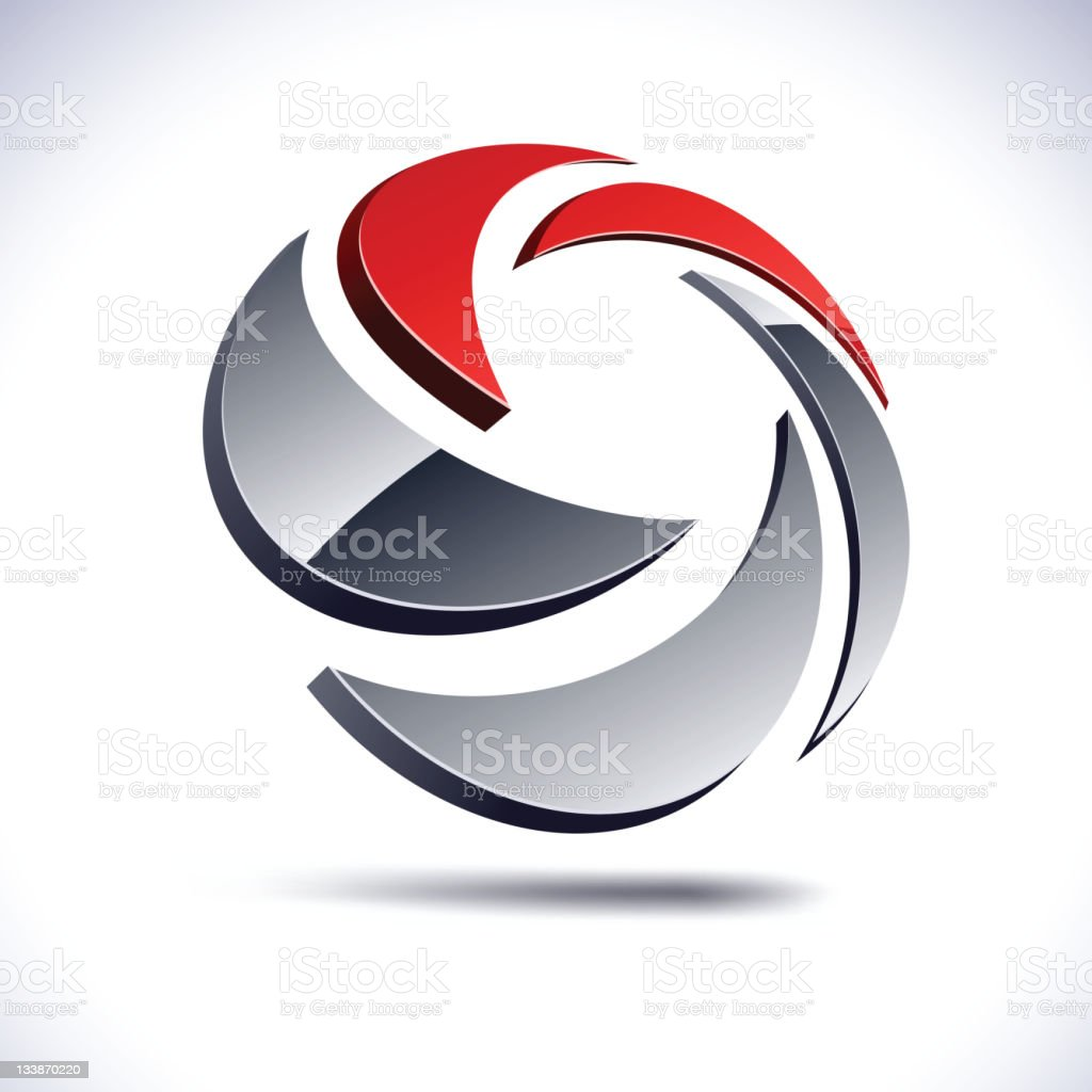 Abstract 3d swirl sign. royalty-free stock vector art