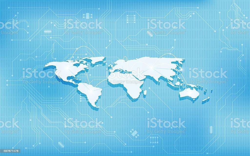 abstract 3d world map technology digital circuit  design concept background vector art illustration