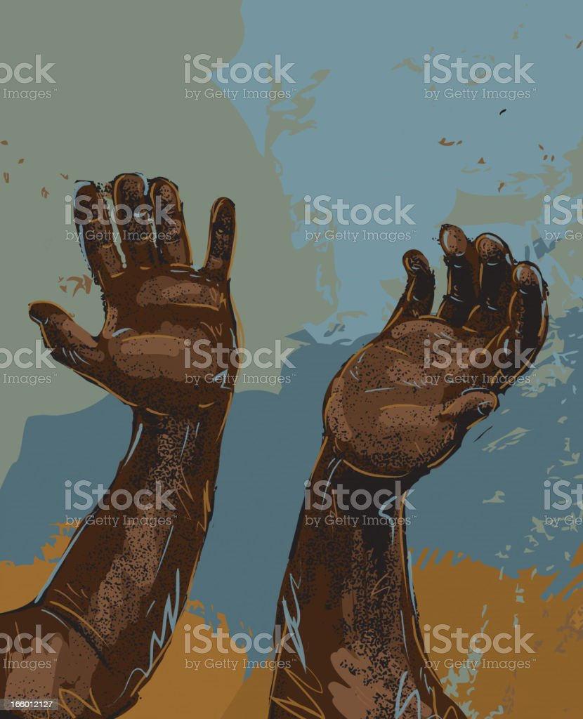 Abstract African American male outstretched hands vector art illustration