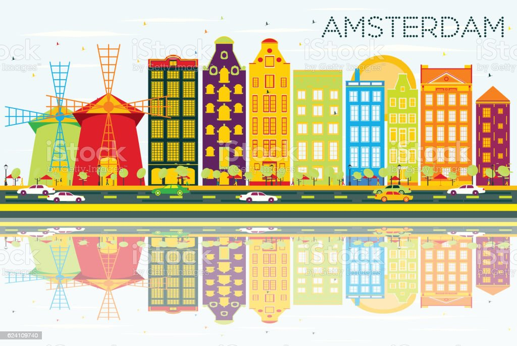 Abstract Amsterdam Skyline with Color Buildings, Blue Sky and Re vector art illustration
