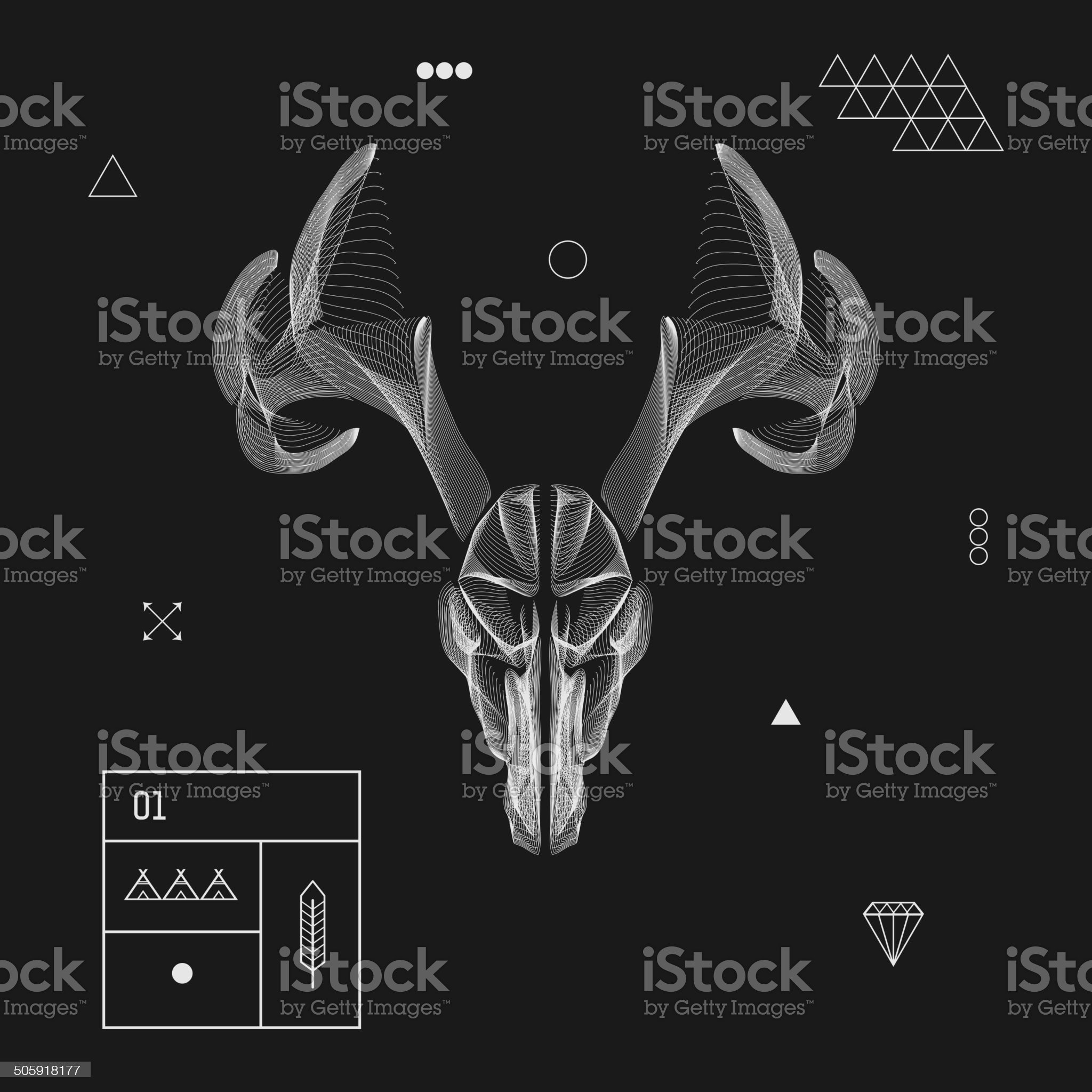 Abstract animal background line art. Skull. Antlers. Vector. Isolated. royalty-free stock vector art