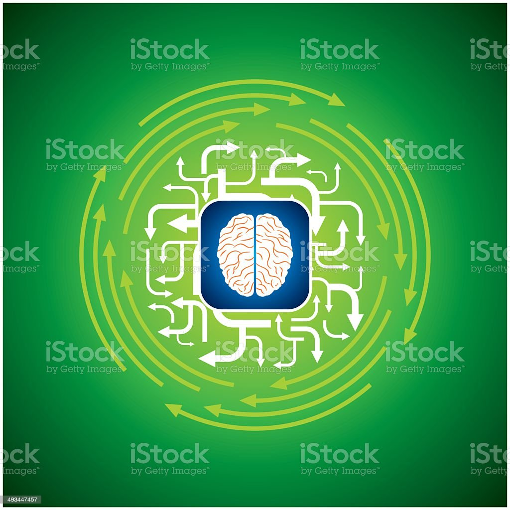 abstract arrow background with brain royalty-free stock vector art