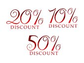 abstract artistic glossy red discount text