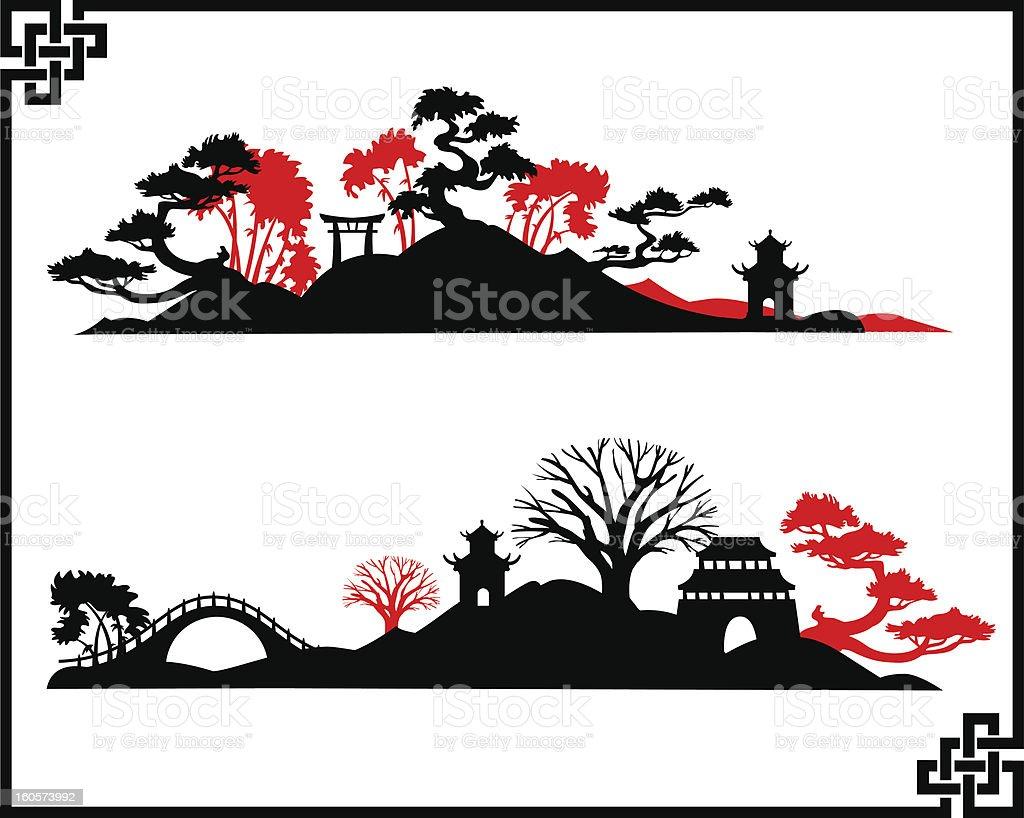 Abstract Asian Landscape vector art illustration