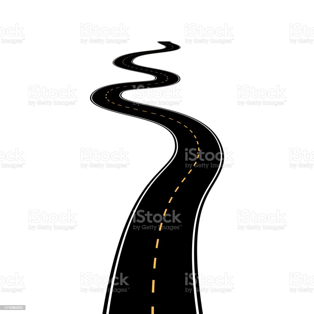 Abstract asphalt road isolated on white background vector art illustration