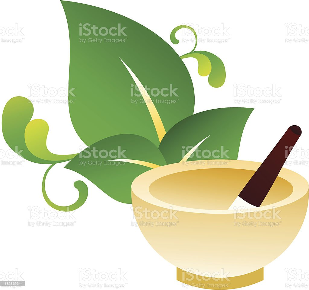 abstract Ayurveda herbal pot with leaf royalty-free stock vector art