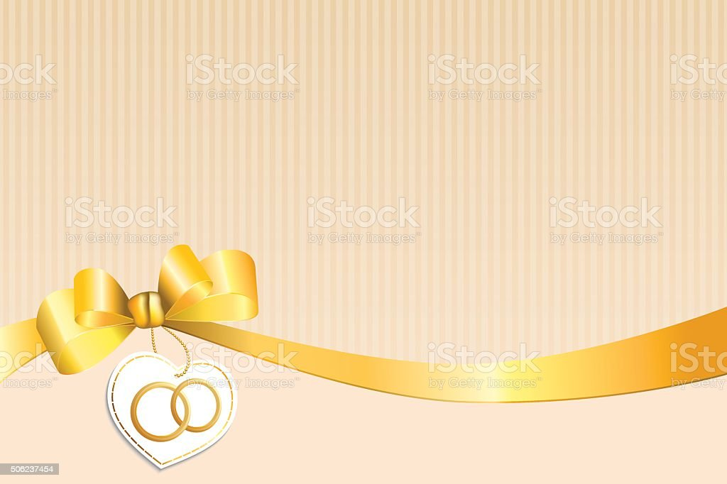 Abstract background beige strips white yellow bow heart wedding rings vector art illustration