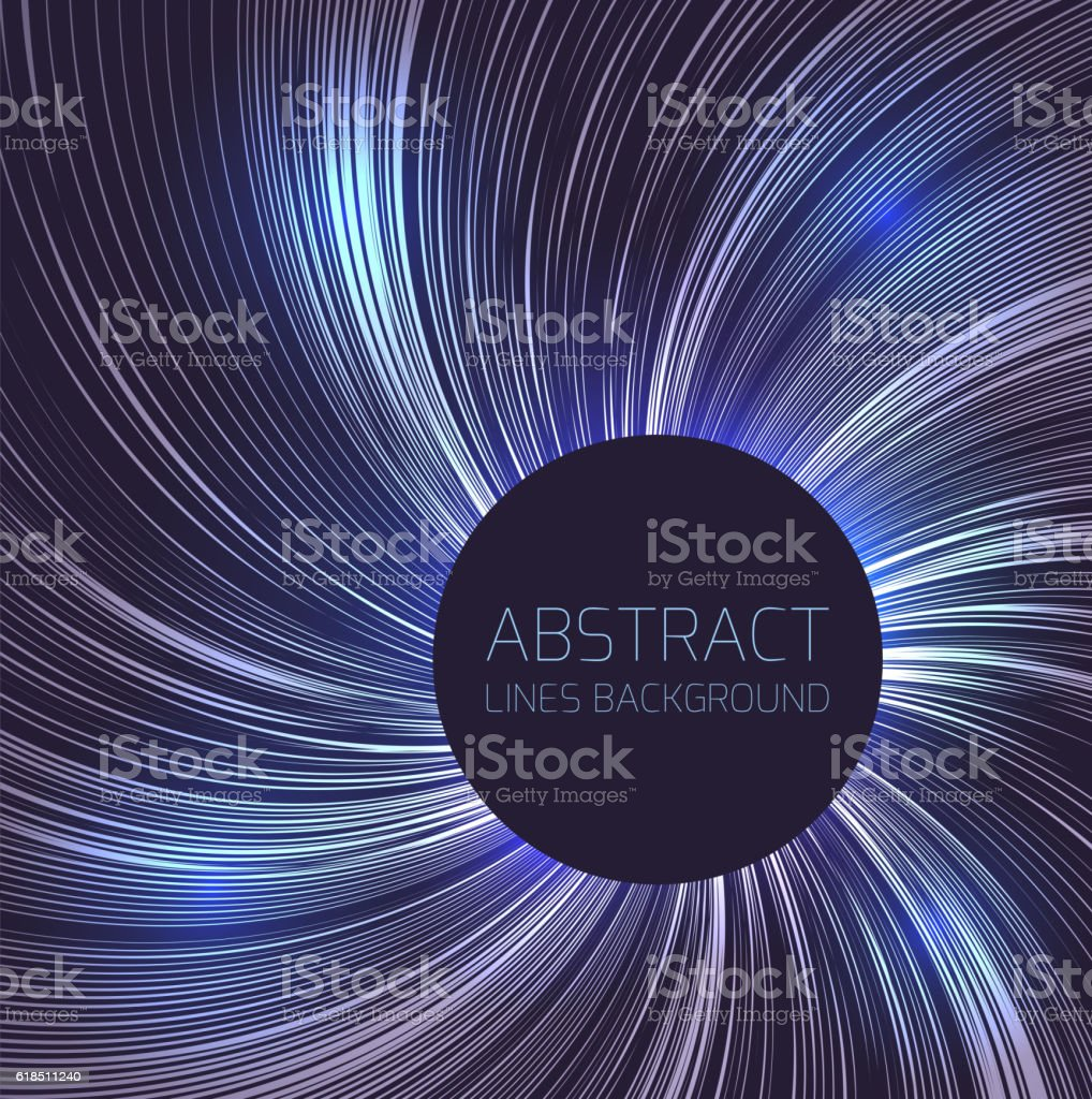 Abstract background circular swirl of lines and round frame vector art illustration