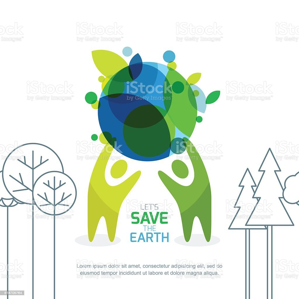 Abstract background for save earth day. vector art illustration