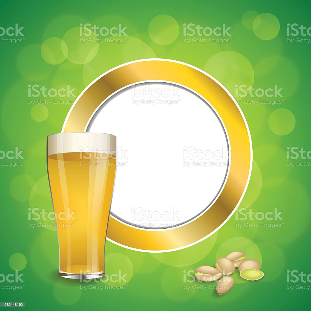 Abstract background green drink glass beer pistachios gold circle vector vector art illustration