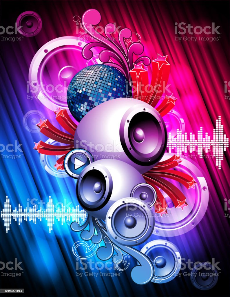 Abstract background illustration on a music and media theme royalty-free stock vector art