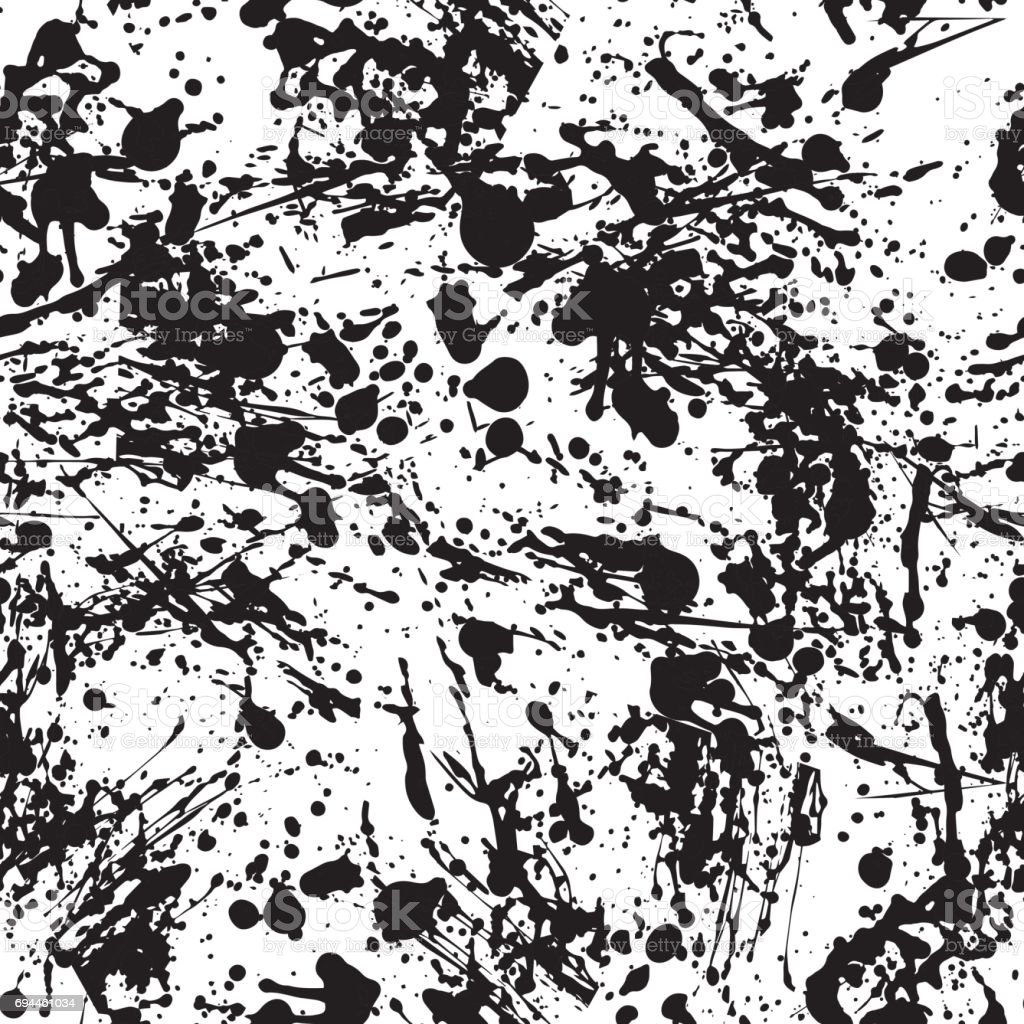 Abstract Background in Grunge Style. Ink Splashes Seamless Pattern. Hand Drawn Spray Texture. Black and White illustration. vector art illustration