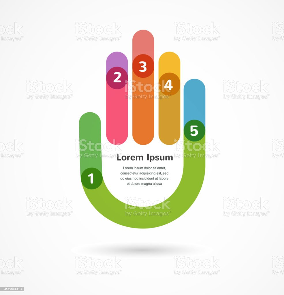 Abstract background infographic with hand vector art illustration