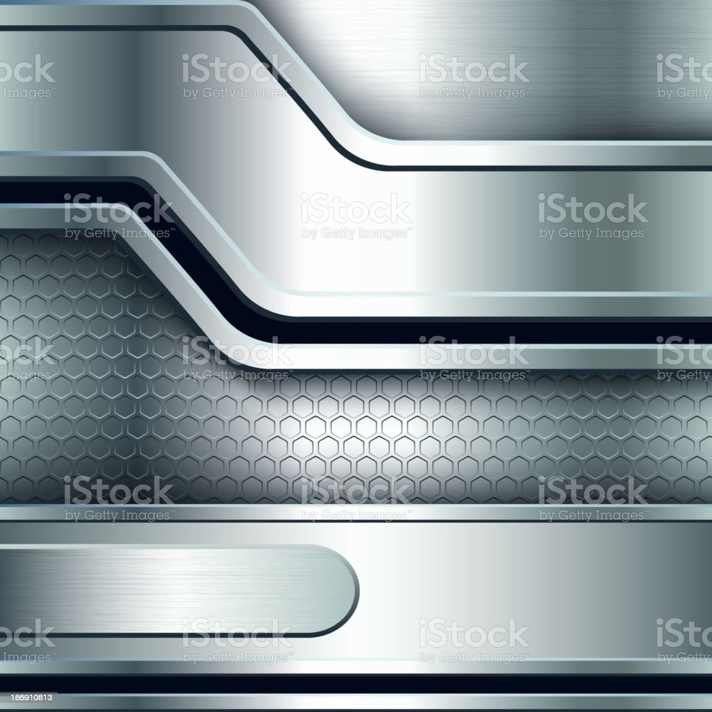 Abstract background, metallic silver banners royalty-free stock vector art