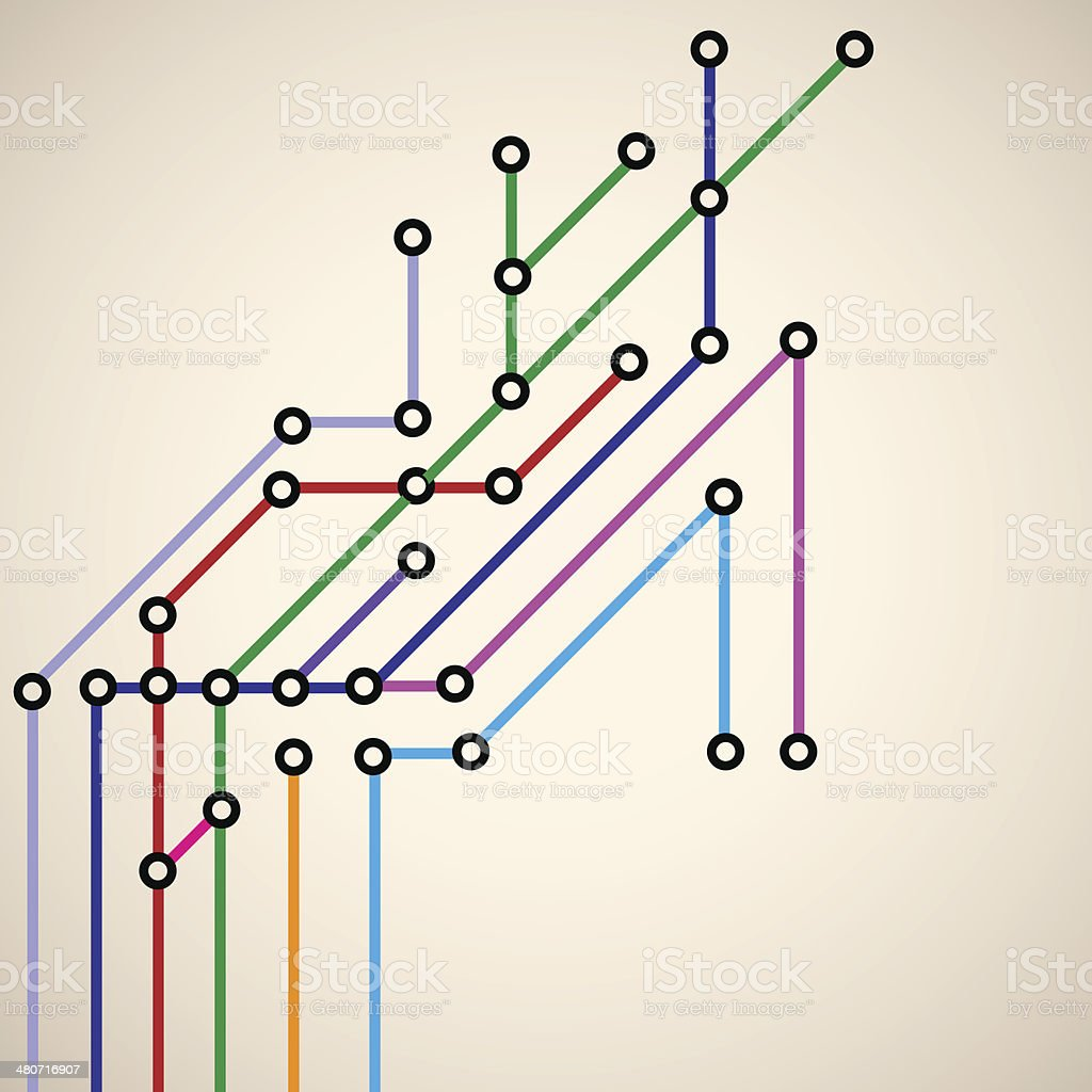 Abstract background of a subway map vector art illustration