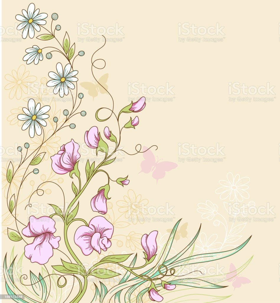 Abstract background of a vine with flowers and butterflies royalty-free stock vector art