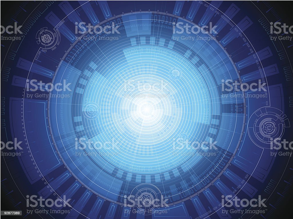 Abstract background of blue futuristic concentric circles royalty-free stock vector art