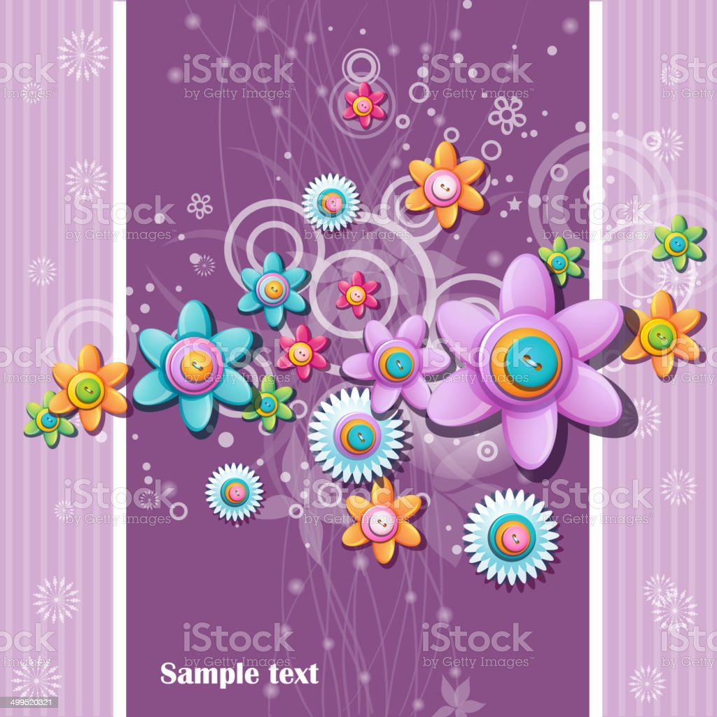 Abstract background of the buttons in the shape of flowers vector art illustration