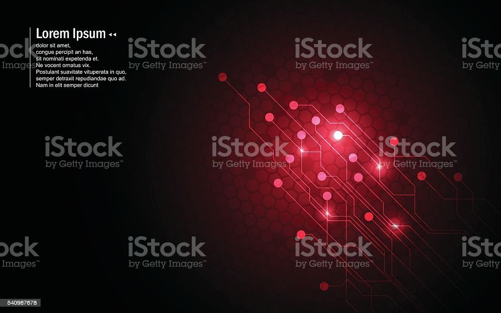 abstract background red circuit hexagon pattern design technology innovation concept vector art illustration