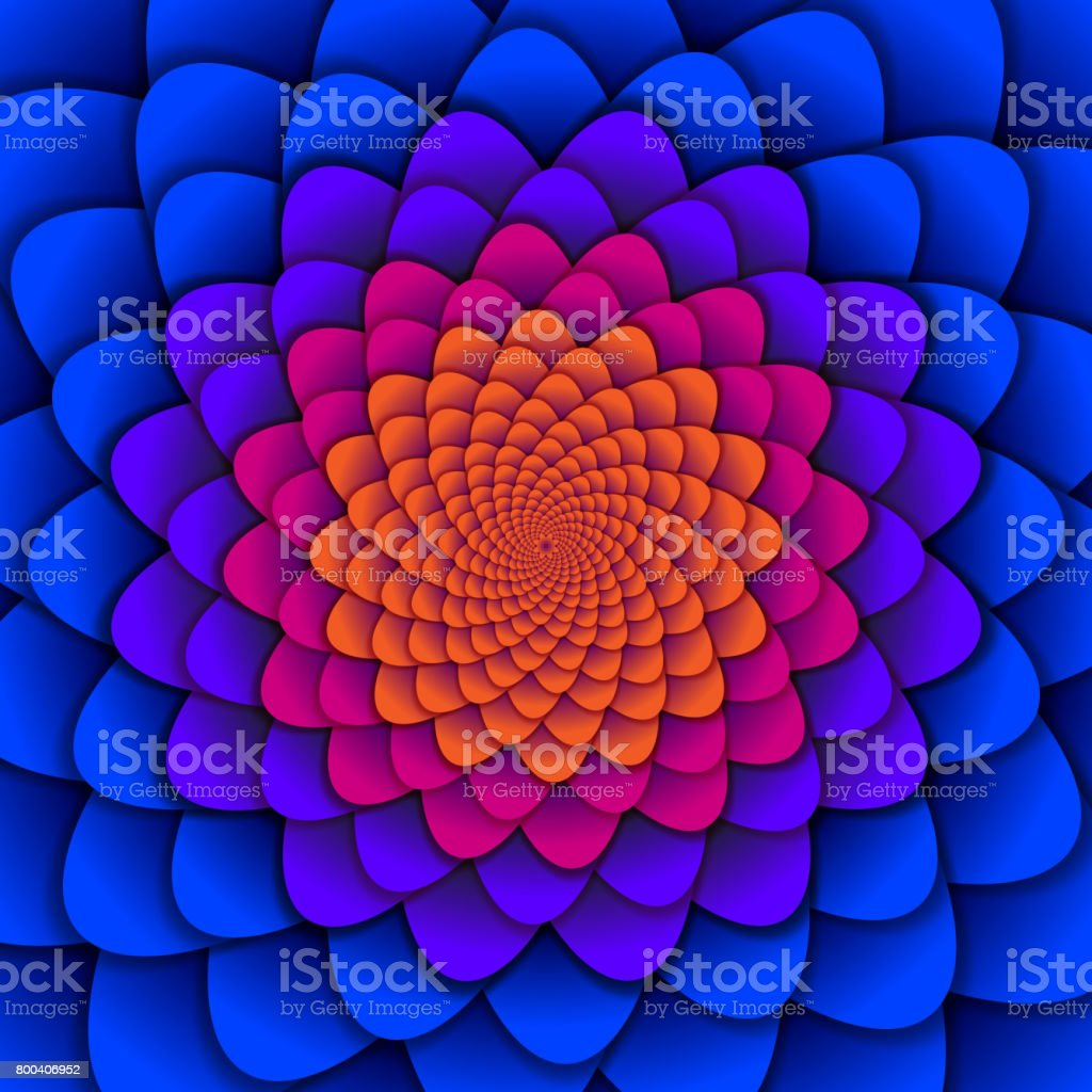 Abstract background. Spiral flower pattern in red and blue. Abstract Lotus Flower. Esoteric Mandala Symbol vector art illustration