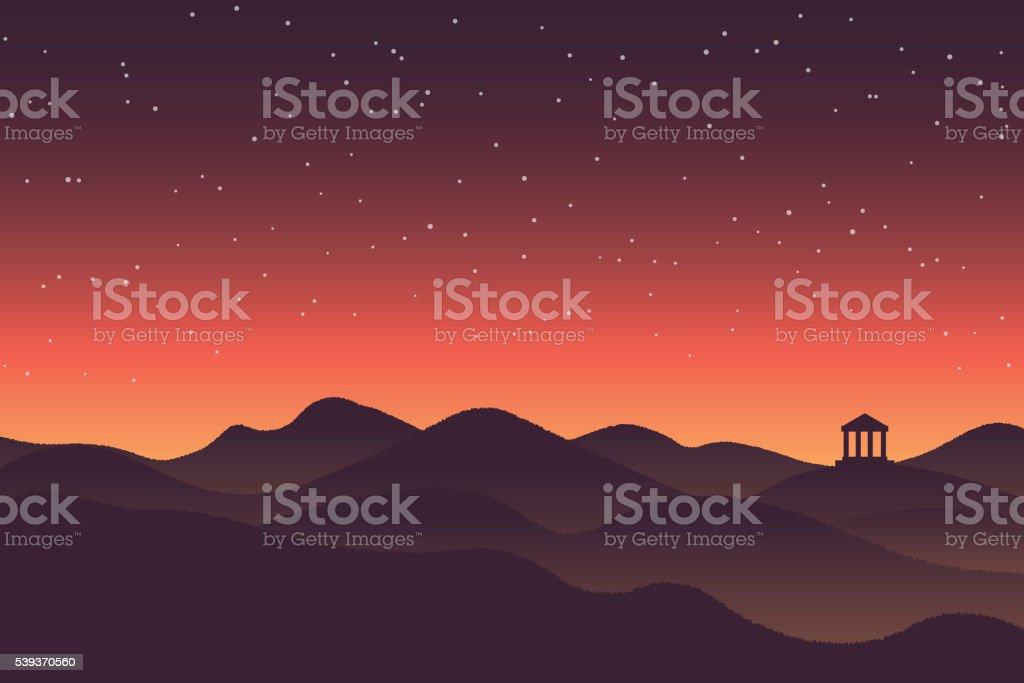 Abstract background sunset silhouette mountain scenery vector art illustration
