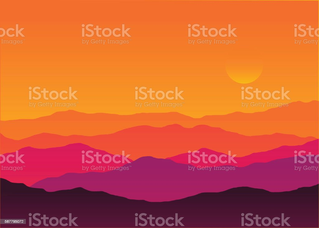 Abstract background sunset silhouette mountain scenery vector art illustration