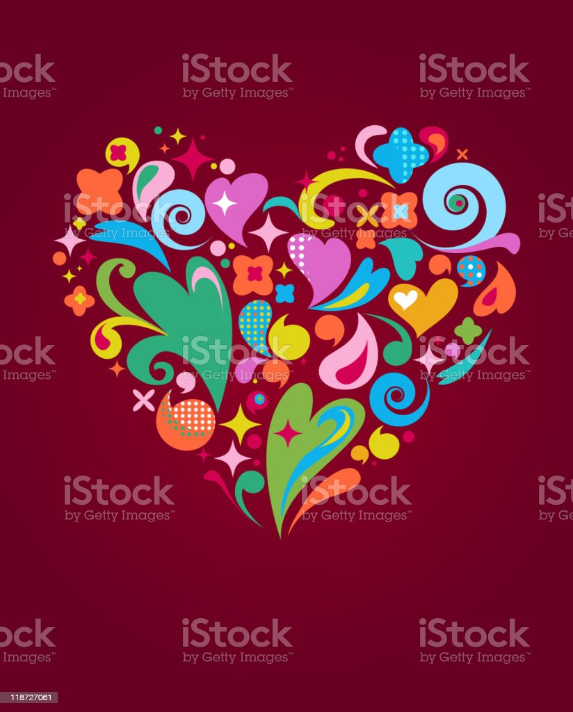 abstract background with a cute rtetro vector heart royalty-free stock vector art