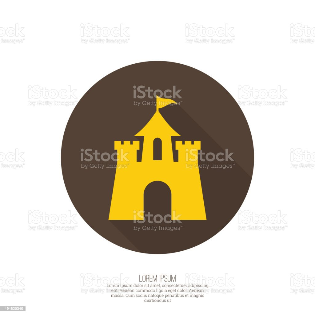 Abstract background with a medieval fortress vector art illustration