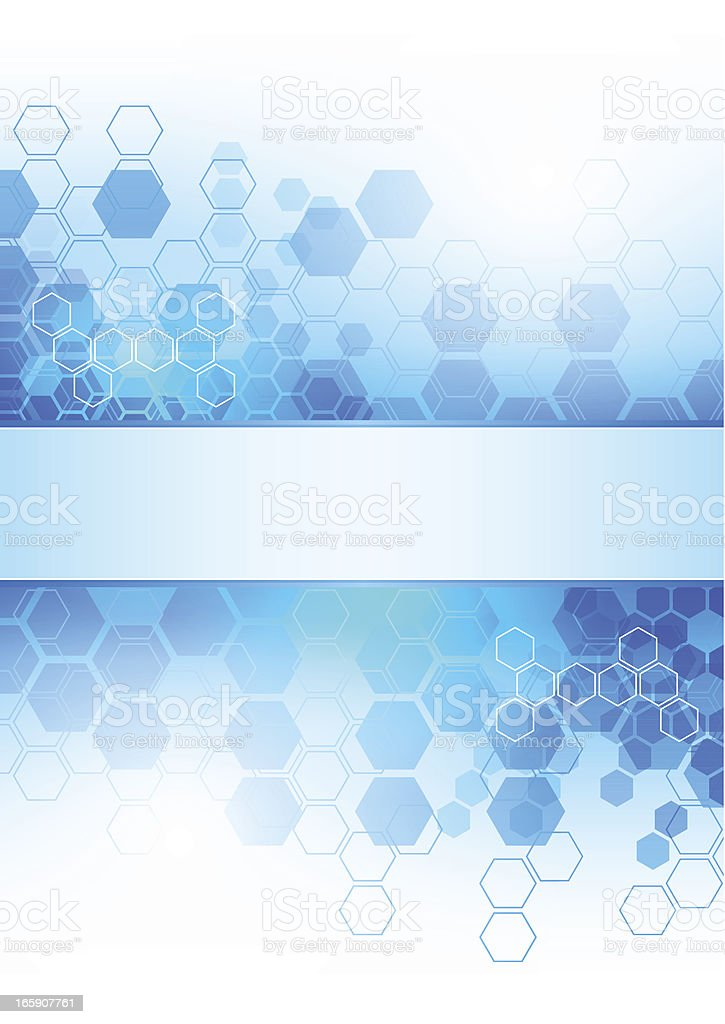 Abstract background with beehive shapes in tones of blue royalty-free stock vector art