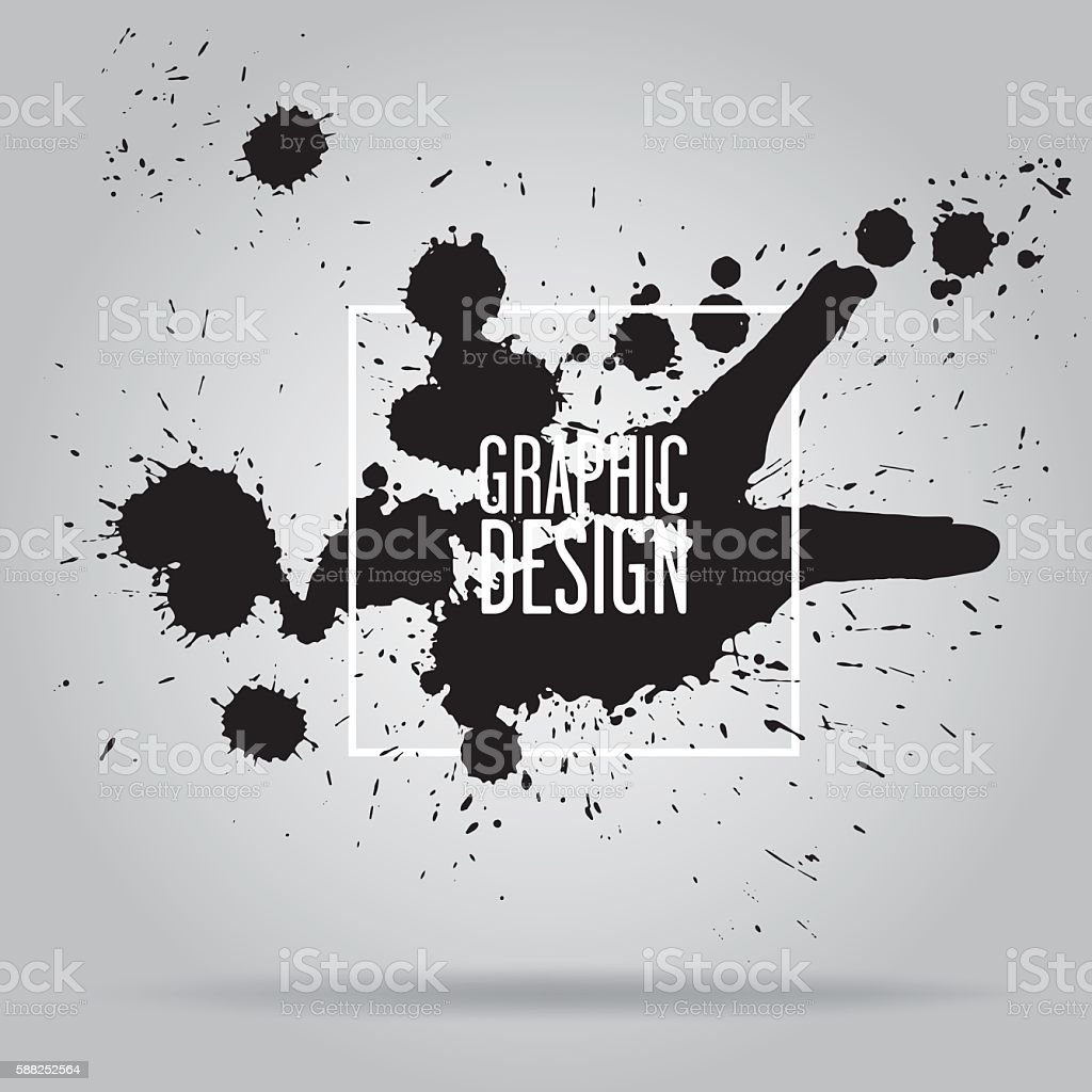 Abstract background with black spots vector art illustration