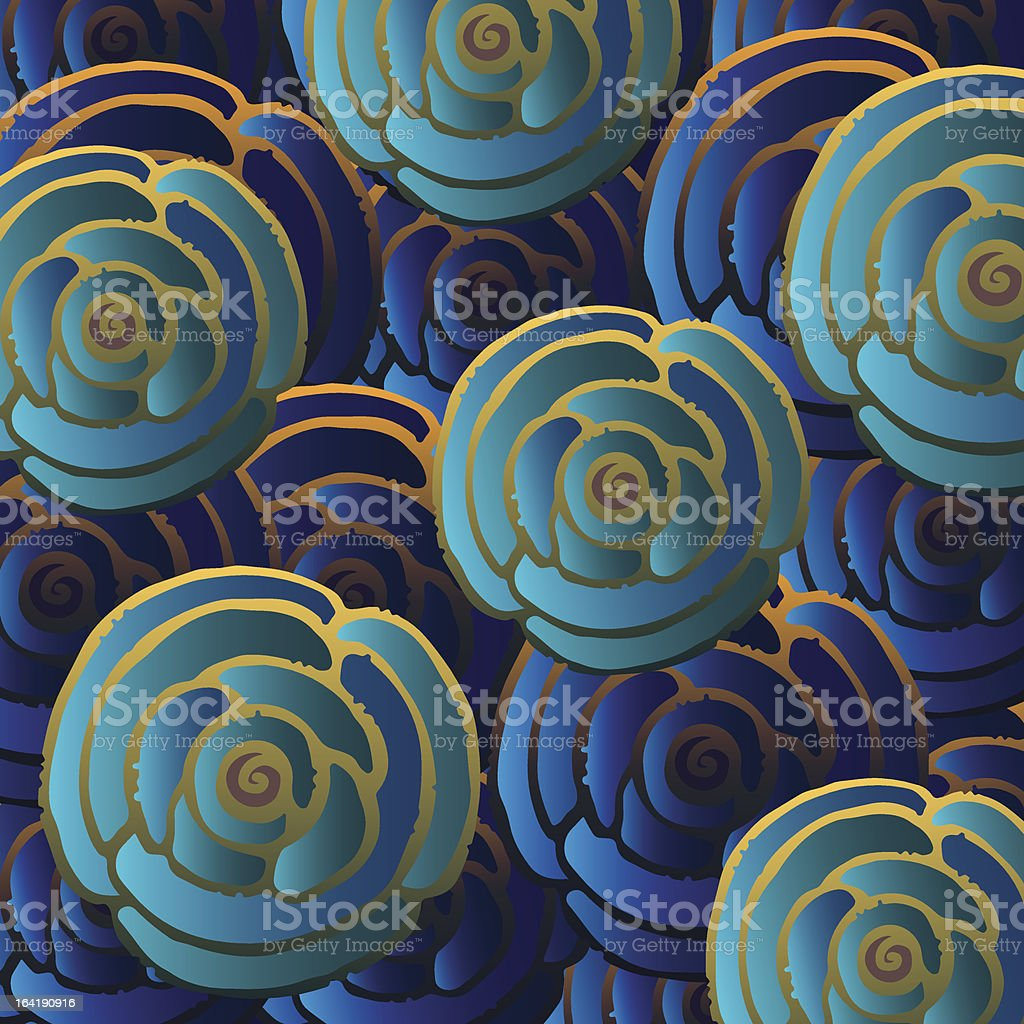 Abstract  background with blue yellow flowers royalty-free stock vector art