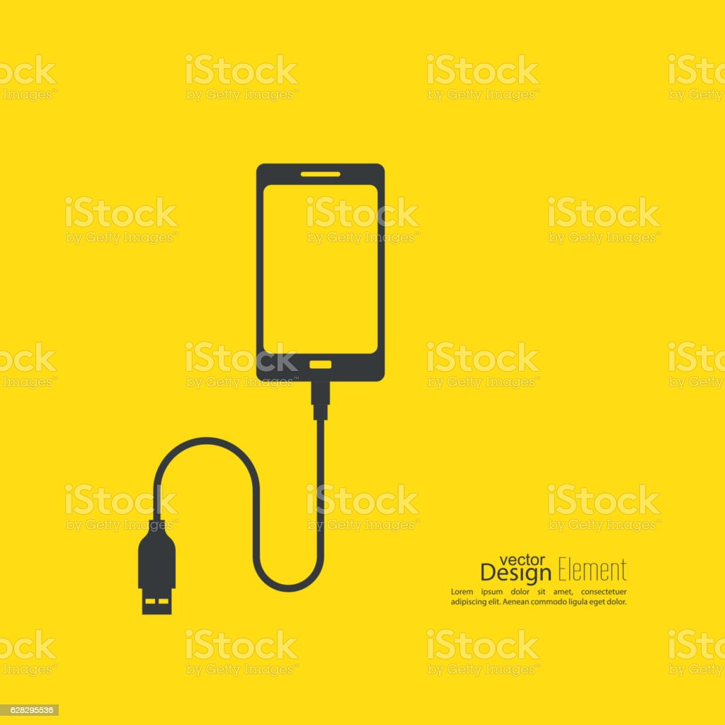 Abstract background with charge mobile phones. vector art illustration