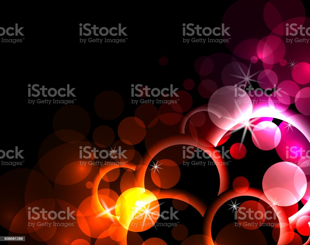 Abstract background with circles, sparks, rings vector art illustration