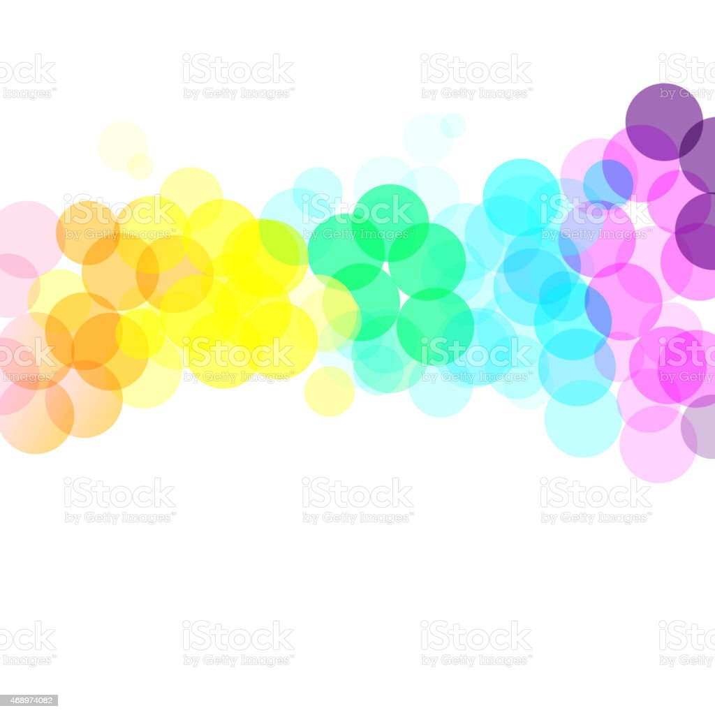 Abstract background with colorful circles across white back vector art illustration