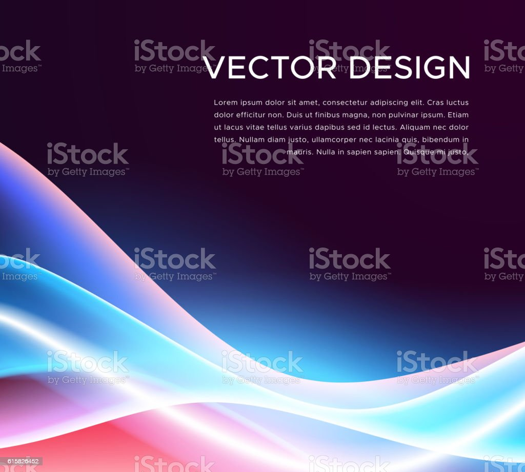 Abstract background with colorful glowing waves vector art illustration
