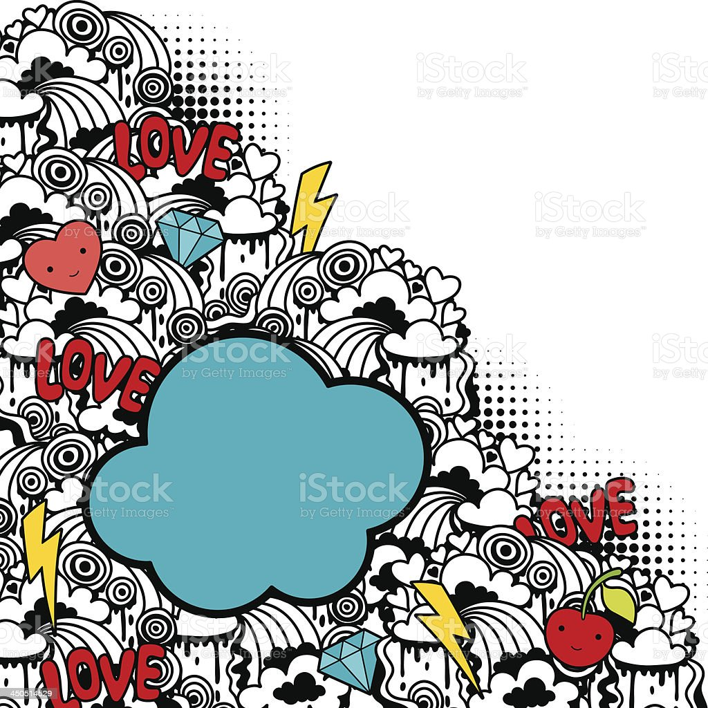 Abstract background with cute kawaii doodles. vector art illustration