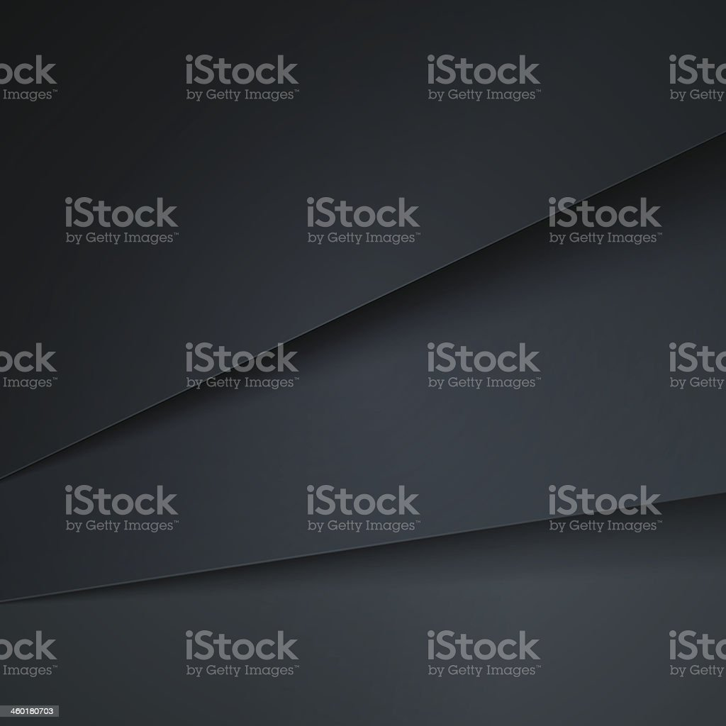 Abstract background with dark grey paper layers vector art illustration