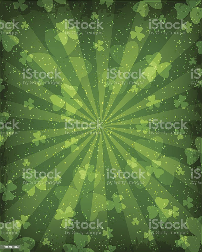 Abstract background with emphasis on clover leaves vector art illustration